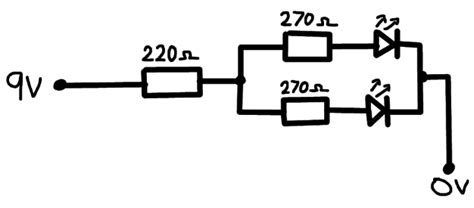 One Resistor Series Two Parallel For Leds