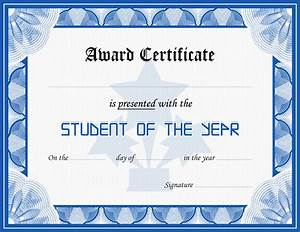Student award certificate template formal word templates for Student of the year certificate template