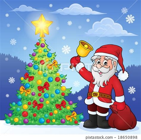 photo of santa claus and christmas tree santa claus with bell by tree stock illustration 18650898 pixta