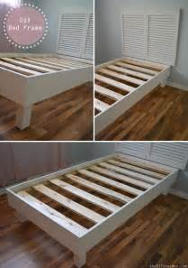 Building A Simple Platform Bed Frame by Shutter Headboard Tutorial The D I Y Dreamer