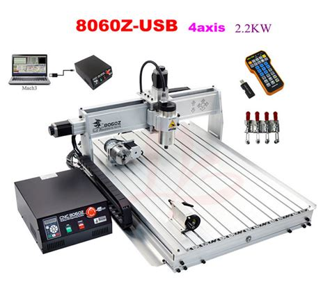 best quality usb mini cnc router 8060 2200w 4 axis cnc engraving machine with free