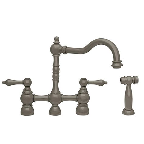 bridge kitchen faucet with side spray water creation 2 handle bridge kitchen faucet with side