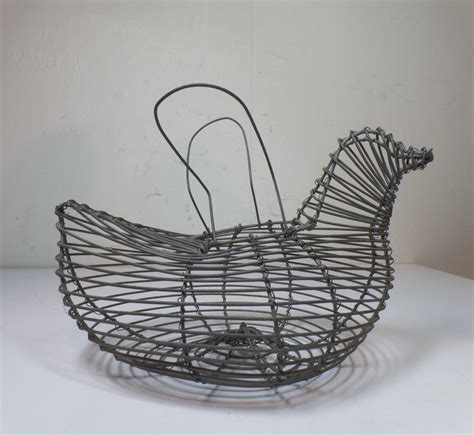 shabby chic wire baskets vintage primitive country shabby cottage chic wire chicken egg collecting basket ebay