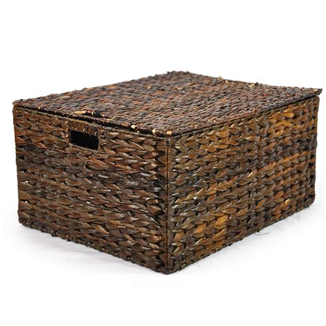 large storage basket with lid audrey mahogany storage basket with removable lid large the lucky clover trading co