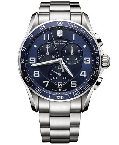 victorinox swiss army s chronograph classic xls stainless steel bracelet 45mm 241652