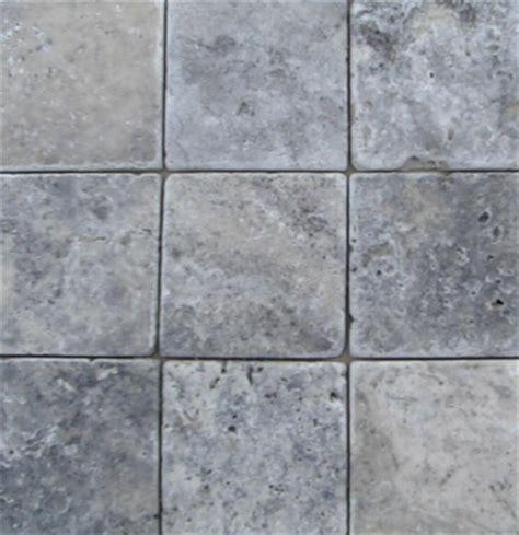 Tumbled Travertine Machiatto/Silver 4x4 Tile