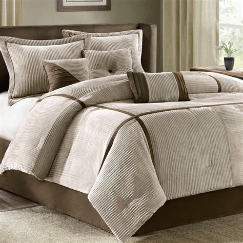 7 piece luxury tan brown corduroy bedding bed comforter