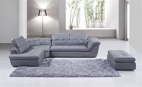 cyprus lsf gray leather italian leather modern sectionals