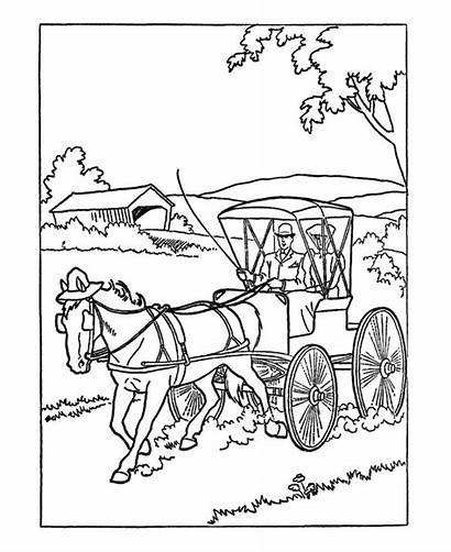 Transportation Early Horse American Coloring Pages Modes