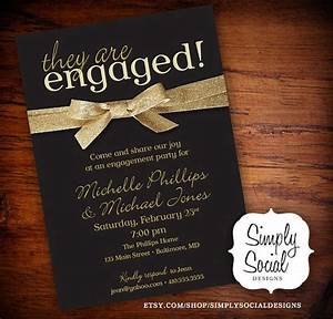 engagement party invitation black and gold glitter ribbon With wedding invitations with engagement pictures