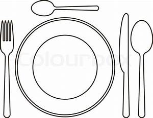 Place setting with plate, knife, spoons and fork | Stock ...