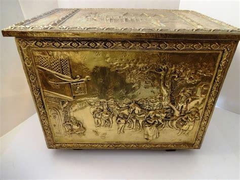 antique peerage england brass copper clad wood chest