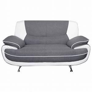 spacio canape droit fixe 2 places tissu gris et simili With canape 2 places tissu blanc