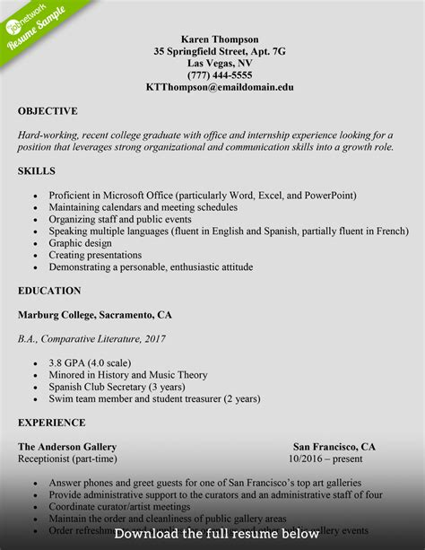 resume for a colege student how to write a college student resume with exles