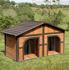 double dog house extra large wood duplex outdoor pet With large outdoor dog house