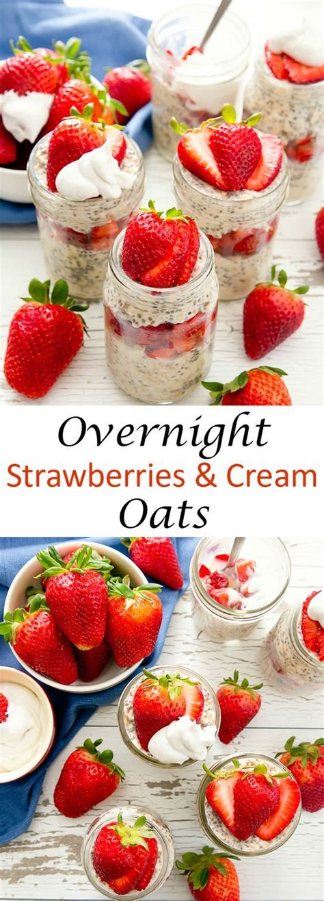 Overnight oats are really customizable; Strawberries and Cream Overnight Oats | Recipe | Low calorie overnight oats, Strawberries and ...