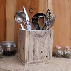 Rustic Kitchen Utensil Storage  Holder Reclaimed Wood Box