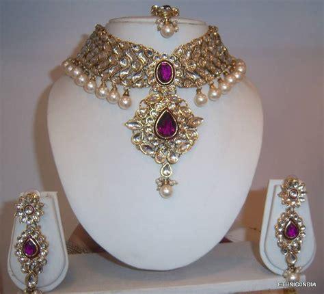 buy purple white kundan pearl choker gold necklace earring wedding set