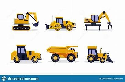 Vector Truck Dump Backhoe Excavator Equipment Construction