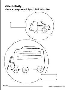 kindergarten big  small worksheet  nursery