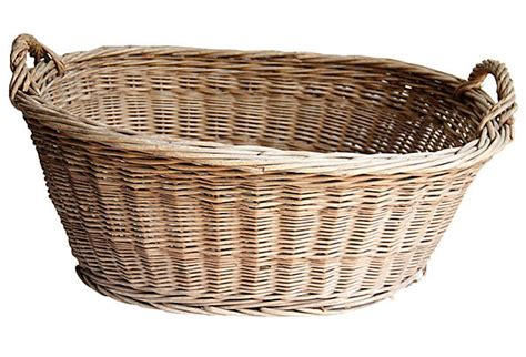 French Wicker Laundry Basket  Omero Home