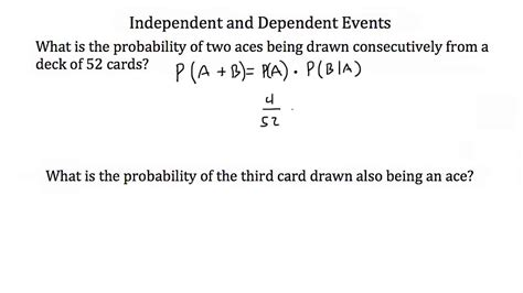 Probabilityindependent And Dependent Events Youtube