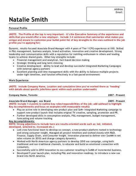 sle brand marketing resume