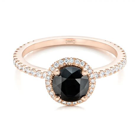 custom rose gold and black and white diamond engagement ring