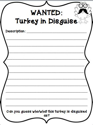 Turkey In Disguise Bulletin Board Template by Wanted Turkeys In Disguise Mrs O Knows