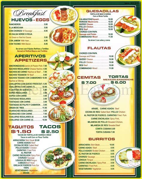 taco menu tacos mexico mexican restaurant in corona queens 11368 menus photos information