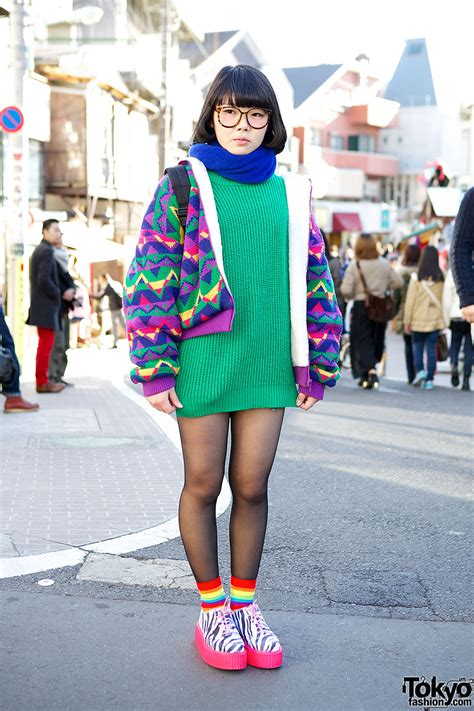harajuku girl in glasses colorful fashion neon zebra