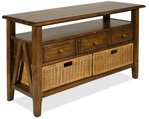 console table with baskets and drawers riverside furniture claremont 3 drawer console table with