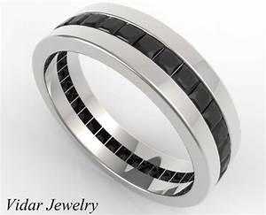 men39s princess cut full eternity black diamonds wedding With mens wedding ring with black diamonds