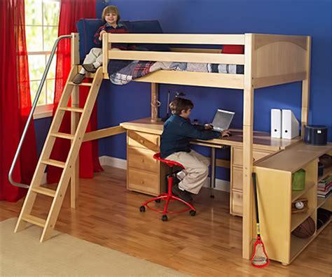 boys loft bed with desk having the right desk and bookshelf