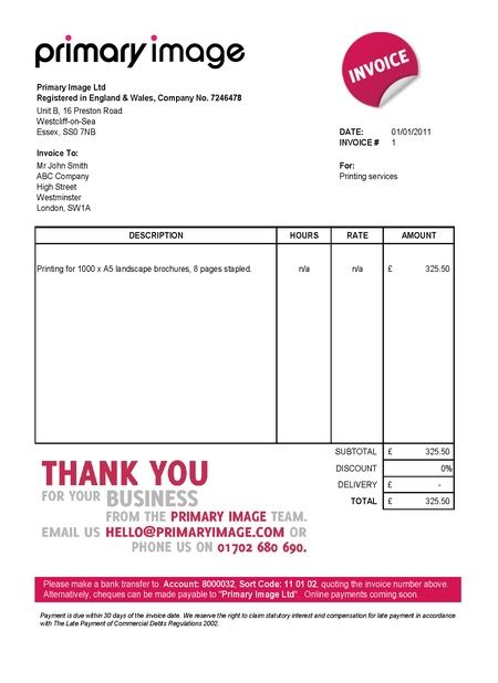 invoice template uk limited company invoice