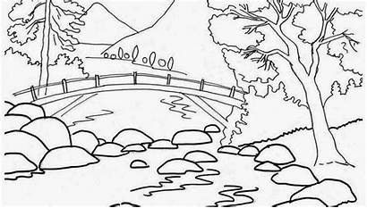 Scenery Coloring Pages Mountain Printable Nature Drawing