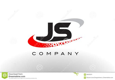 Js Modern Letter Logo Design With Red Dotted Swoosh Stock
