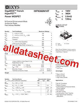 IXFN360N10T 데이터시트(PDF) - IXYS Corporation