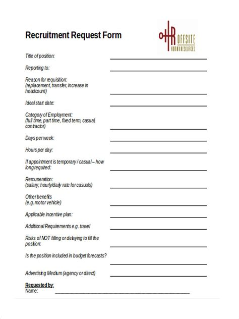 recruitment requisition forms  ms word
