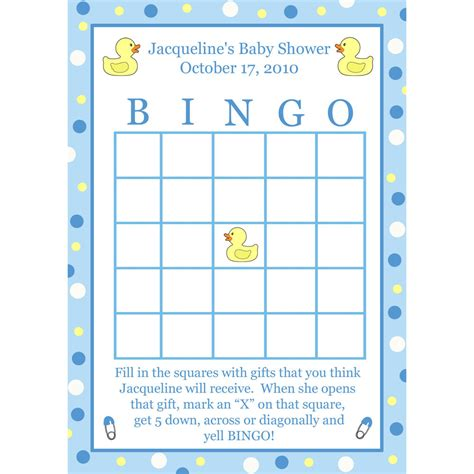 Baby Shower Booklet Template 24 Personalized Baby Shower Bingo Cards Blue Rubber
