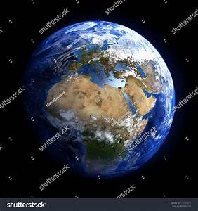 Earth Space Showing Europe Africa Extremely Stock Photo ...