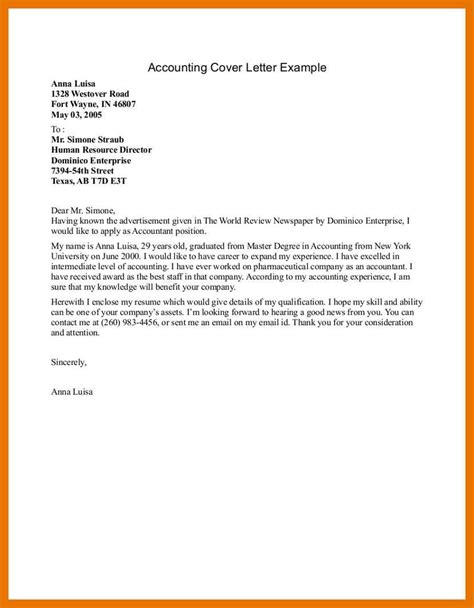 Exle Cover Letter Accounting Internship by 6 7 Writing Cover Letters Exles Formsresume