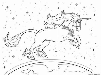 Coloring Unicorn Universe Planet Pages Printable Info