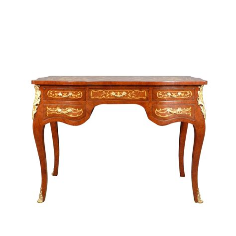 bureau baroque louis xv desk decorated with flowers and foliage