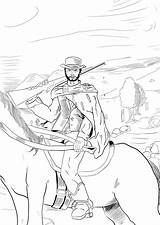 Clint Eastwood Coloring Sketches Colouring Draw sketch template