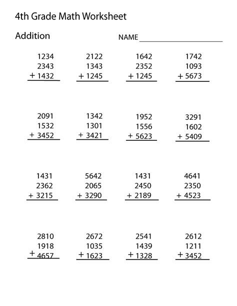 4th Grade Worksheets Math  Kidz Activities