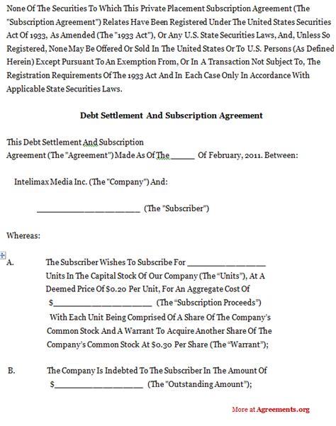 debt settlement  subscription agreementsample debt