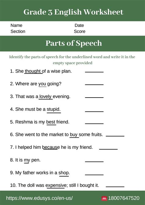 grade english worksheet  parts  speech  nithya