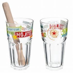 Verre A Mojito : coffret 2 verres mojito en verre multicolores maisons du monde ~ Teatrodelosmanantiales.com Idées de Décoration