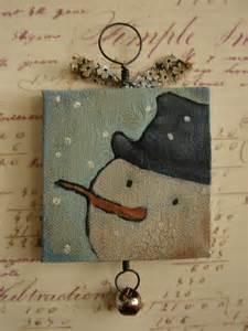 Christmas Snowman Painting On Wood